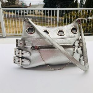 Wilsons Leather silver purse tote bag buckles